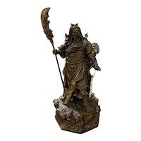 Brass Chinese Nine Dragon Warrior Sculpture