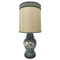 Vintage Hand Painted Ceramic Table Lamp w/ Original Shade by Marbro c.1970