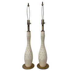 "Mid Century Modern ""Tye of California"" White and Gold Ceramic Table Lamps c.1956"