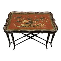 19th Century Papier Mache English Chinoiserie Tray Table c.1890