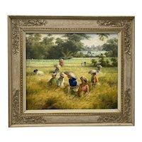 "Vintage ""Bali Rice Fields"" Original Oil Painting c.1989"