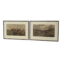 Pair of 19th Century Hand Colored Equestrian Fox Hunt Engravings