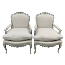 Pair of French Style Carved & Upholstered Arm Chairs c.1940s