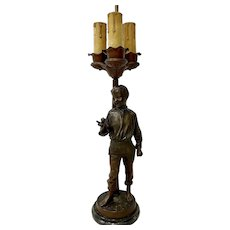 Antique Bronze Boy Three Light Table Lamp c.1920