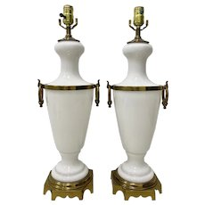 Pair of Hollywood Regency White Glass w/ Brass Mounts Table Lamps c.1950