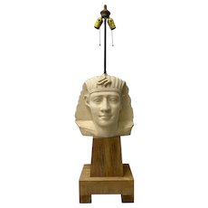 Large Scale Carved and Molded Clay Egyptian Pharoah Head Table Lamp c.1970
