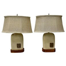 Pair of Vintage Glazed Ceramic Lamps w/ Mayan Inspired Ceramic Medallions