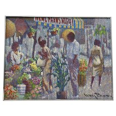 "Henry Benson (1930-1998) ""Flower Stand"" Original Painting c.1970s"