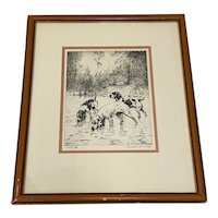 "Percival Leonard Rosseau (1859-1937) ""Cooling Off"" Etching c.1930s"