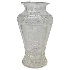 Antique Hand Cut Crystal Vase with Floral & Grape Motif c.1920