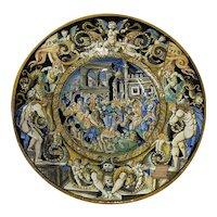 18th to 19th Century Italian Istoriato Dish with Renaissance Figures
