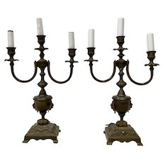 Antique Patinated Brass Classical Urn Candelabras Converted to Table Lamps