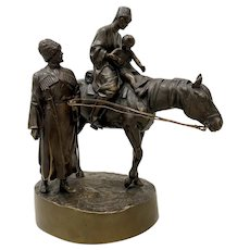 "Russian School ""Young Cossack Family"" Bronze Sculpture by A.M. Bonegor c.1908"