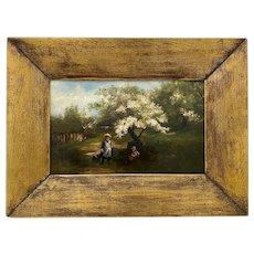 19th Century Oil Painting Two Girls Playing