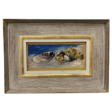 """Ernest Fiene (1894-1965) """"Oysters"""" Still Life Oil Painting c.1940"""