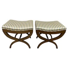 Pair of Vintage 1940s Mahogany & Silk Curule Benches