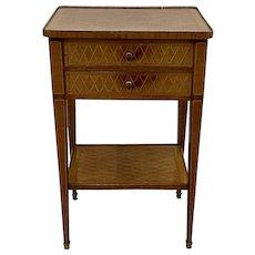 19th Century European Kingwood Side Table w/ Drawers
