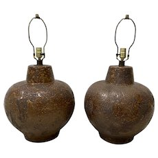 Pair of Mid Century Brown Lava Glaze Table Lamps c.1970