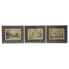"Set of Three Color ""Temperance"" Engravings by Cruikshank 19th c."