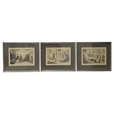 "Set of Three Color ""Temperance"" Etchings by Cruikshank 19th c."