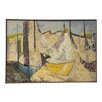 """""""Spanish Coast"""" Original Painting by JA Ramon c.1964"""