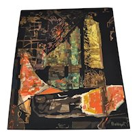 """Mathieu Mategot """"Nocturne"""" Hand Woven Abstract Wool Tapestry, circa 1970"""