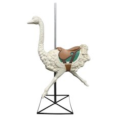 "Vintage Large Scale Fiberglass ""Dentzel"" Style Ostrich on Stand c.1950"