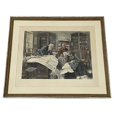 """Dendly Sadler """"The Right of Way"""" Antique Color Engraving c.1890"""