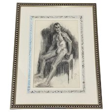 "Charles Wilbert White (1918-1979) ""Male Portrait"" Original Charcoal Drawing c.1950s"