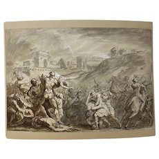 "17th to 18th Century Italian School ""Abduction of Sabine Women"" Old Master Drawing"