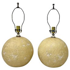 Pair of Mid 20th Century Cratered Moonscape Table Lamps