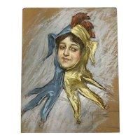 Albert Wenzell (1864-1971) Pastel Portrait of Loie Fuller c.1890s