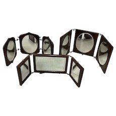 Set of Three Antique Folding Travel Mirrors Late 19th to Early 20th c.
