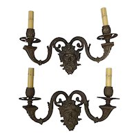 Pair of Early 20th Century Cast Bronze Sconces