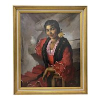 Emilio Molina Nunez (1918-1971) Spanish Dancer Oil Painting c.1950