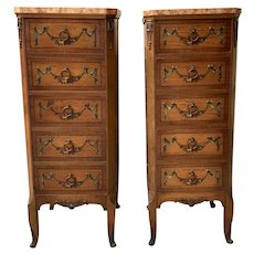 Pair of French Style Walnut & Marble Chest of Drawers by Johnson Handley Johnson c.1927