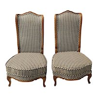 Pair Mid 20th Century Carved Walnut & Upholstered High Back Chairs c.1950