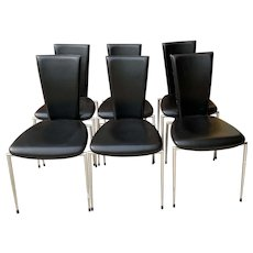 Six Black Leather & Chrome Italian Modern Dining Chairs by Arper