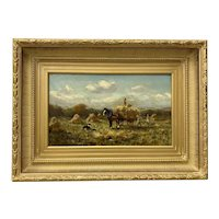 "19th Century ""Harvesters"" Original Oil Painting by Macdonald c.1890"