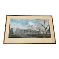 Vintage Mixed Media American Cityscape Illustration c.1960s