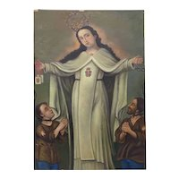 "Mid 20th Century ""Our Lady of Mercy and the Redemption of Captives"" Original Oil Painting"