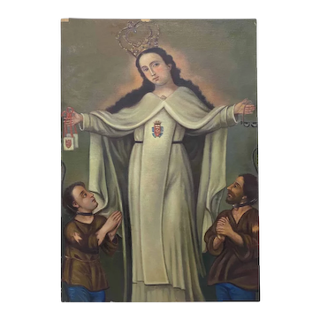 """Mid 20th Century """"Our Lady of Mercy and the Redemption of Captives"""" Original Oil Painting"""