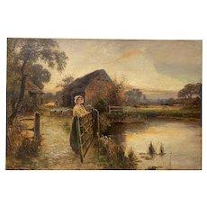 "Ernest Walbourn (England, 1871-1927) ""Evening in Sussex"" Original Painting c.1900"