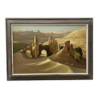 "William Timmins ""Sand Swept Shahr-E Gholghola, Afghanistan"" Oil Painting C.1980"