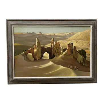 "William Timmins ""Sand Swept Shahr-E Gholghola, Afghanistan"" Oil Painting C.1980"