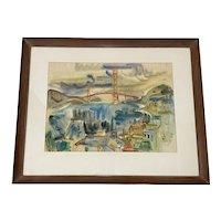 Betty Guy San Francisco Skyline Watercolor c.1950