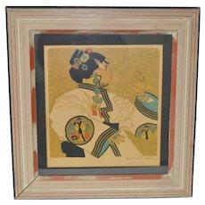 "Dan Groesbeck Woodblock Print ""Tibetan Temple Dancer"" c.1920's"