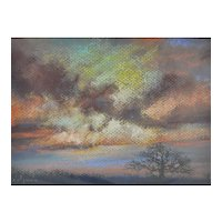 Vintage Pastel Painting - Sky and Tree Landscape