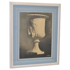 Mid 19th Century Charcoal Drawing Classical Urn