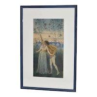 Romantic Art Nouveau Watercolor by Liam Watson c.1910